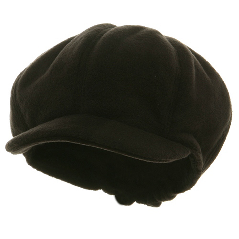 Big Size Fleece Winter Newsboy Cap - Black - Hats and Caps Online Shop - Hip Head Gear