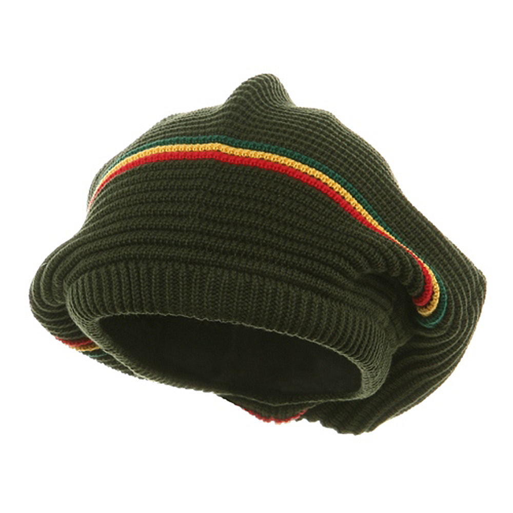 Medium Crown New rasta Beanie Hat - Olive rgy - Hats and Caps Online Shop - Hip Head Gear