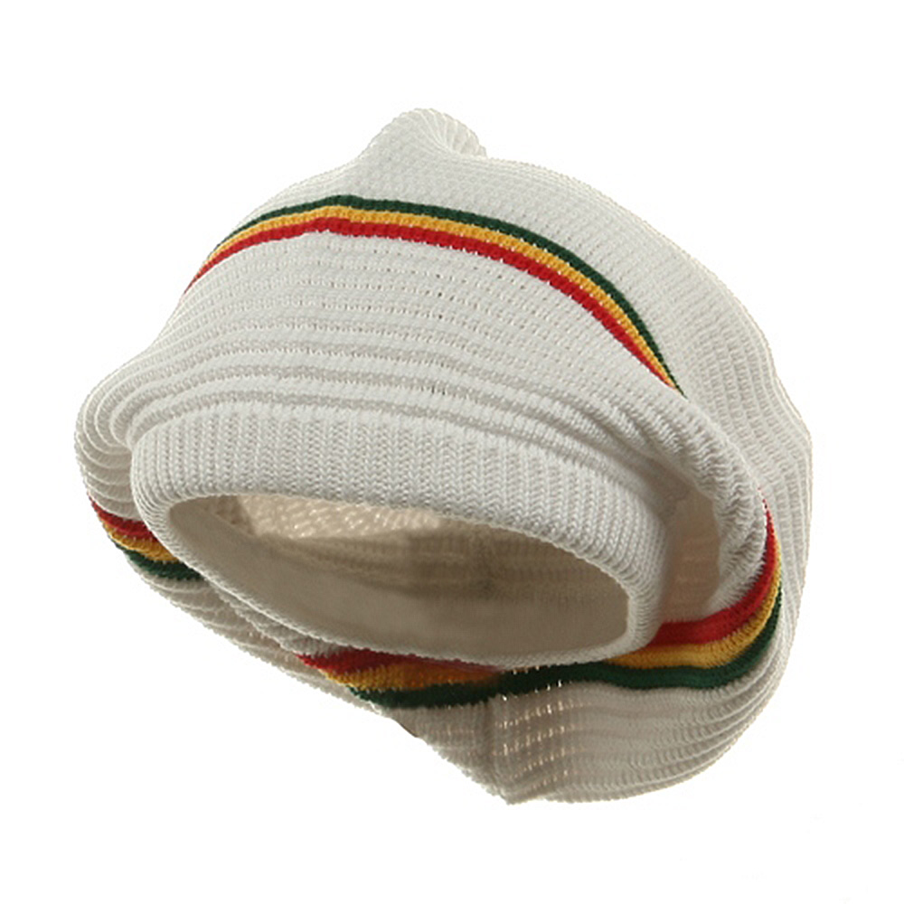 Medium Crown New rasta Beanie Hat - White rgy - Hats and Caps Online Shop - Hip Head Gear