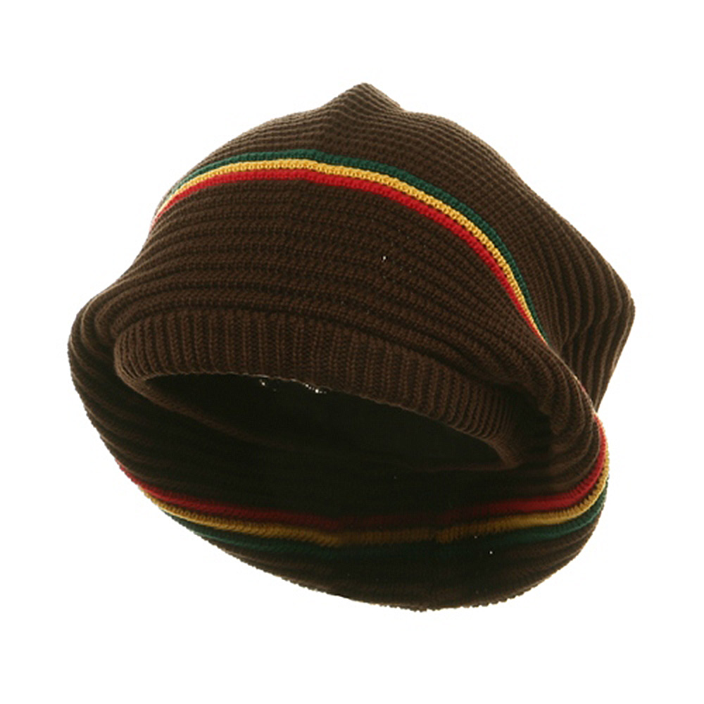 Medium Crown New rasta Beanie Hat - Brown RGY - Hats and Caps Online Shop - Hip Head Gear