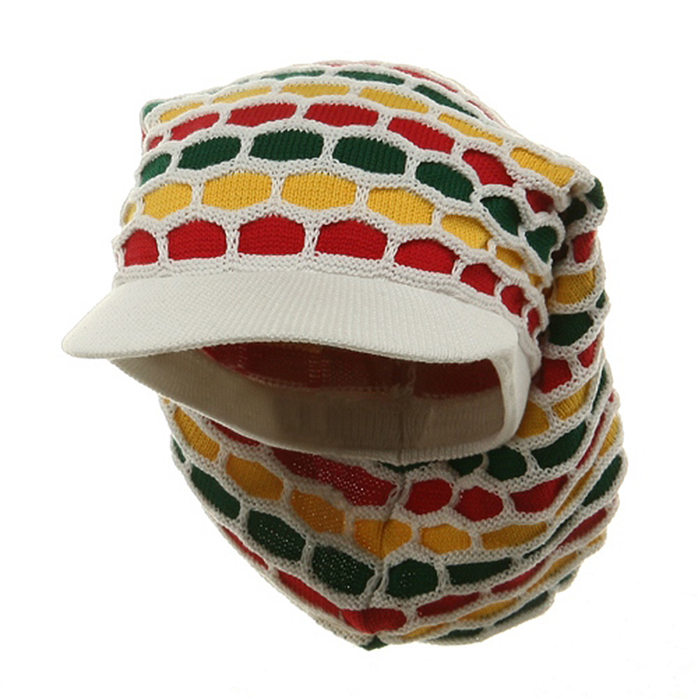 New Rasta Honey Long Hat-White RGY - Hats and Caps Online Shop - Hip Head Gear