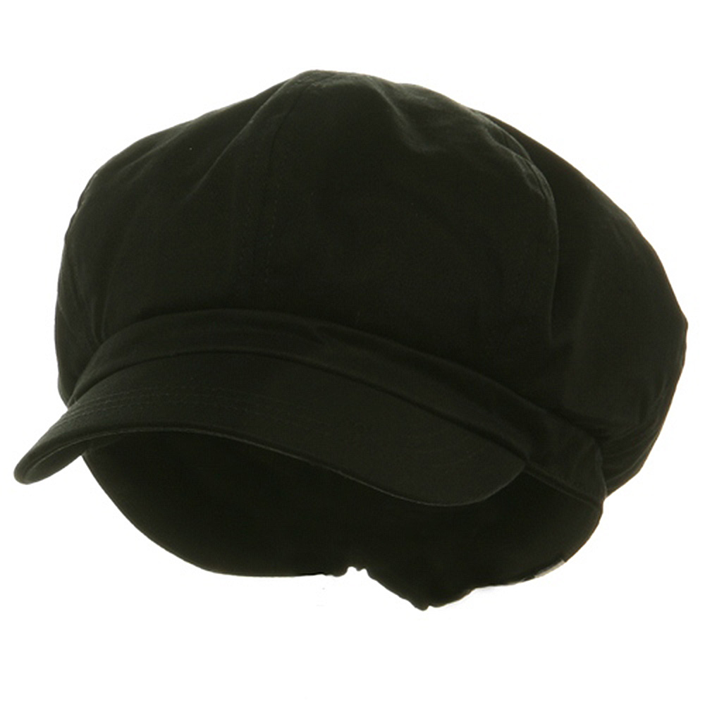 Big Size Cotton Newsboy Hat - Black