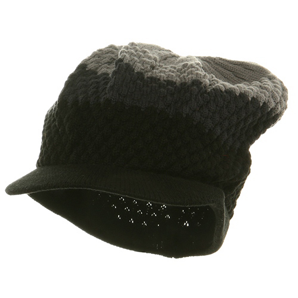 3-Tone Beanie Visors(02)-Black Charcoal Grey - Hats and Caps Online Shop - Hip Head Gear
