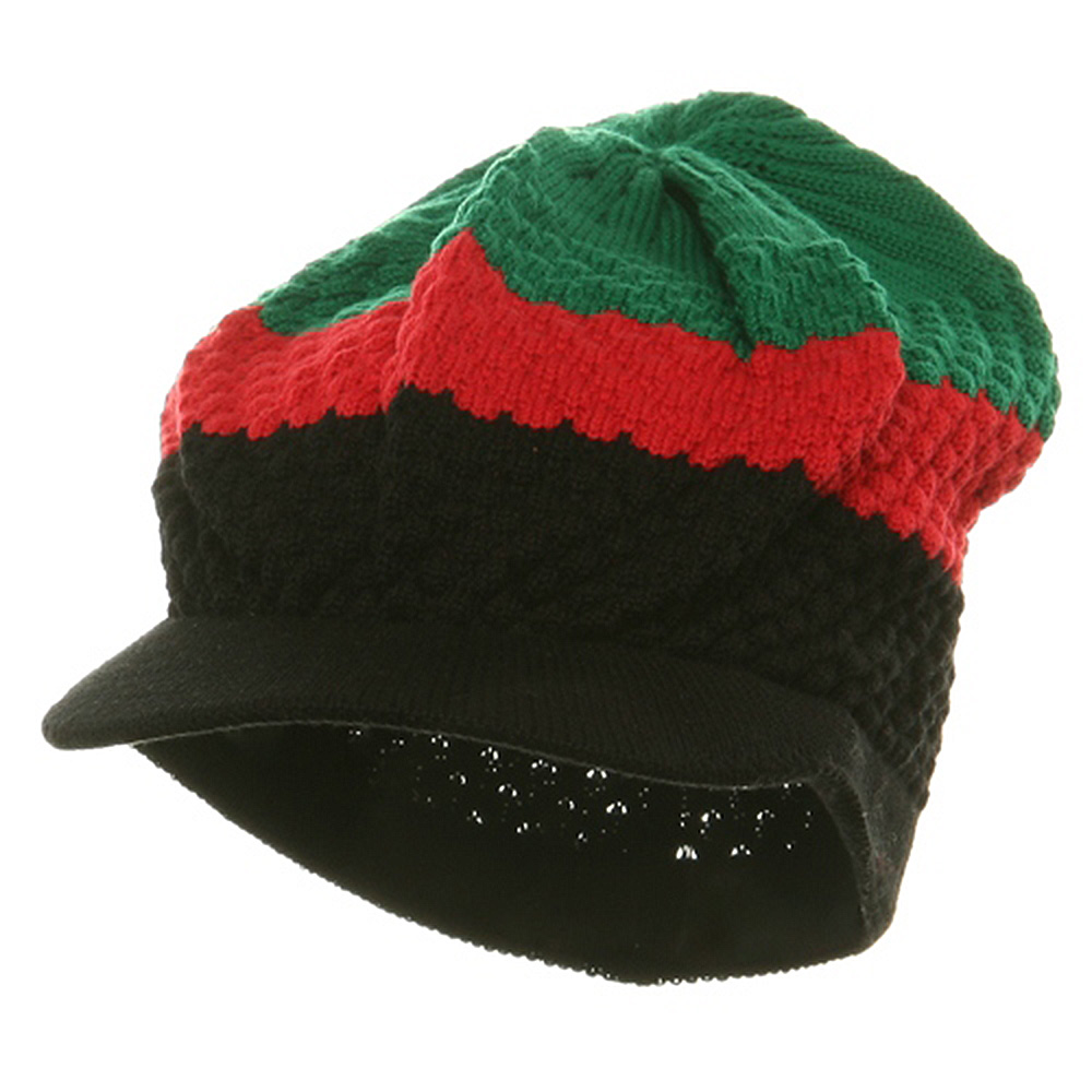 3-Tone Beanie Visors(02)-Black Red Green - Hats and Caps Online Shop - Hip Head Gear