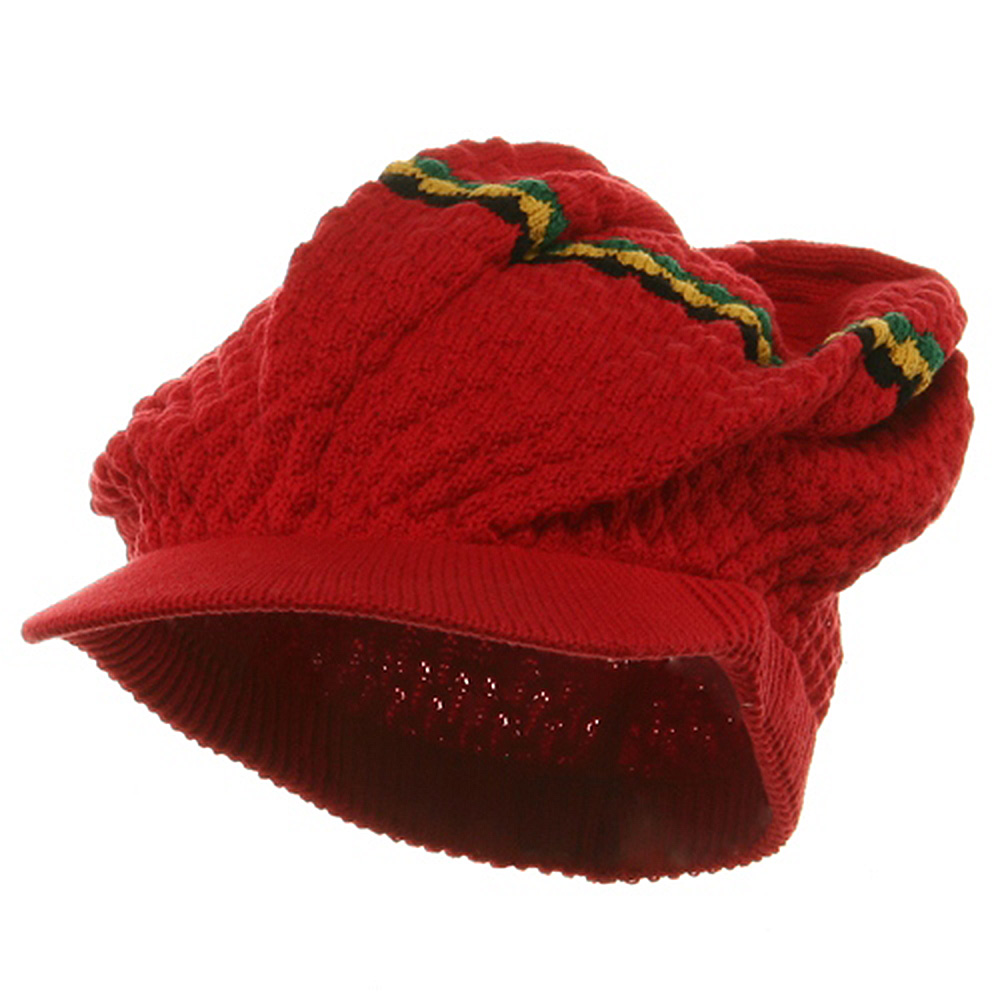 Rasta RGY Beanies Visor (02)-Red - Hats and Caps Online Shop - Hip Head Gear