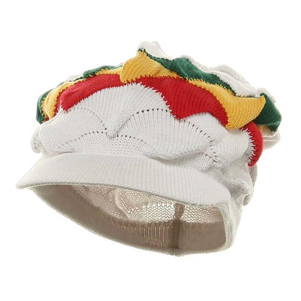 New Rasta Visor Hat - White RGY - Hats and Caps Online Shop - Hip Head Gear
