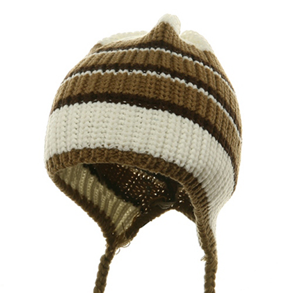 Knit Stripe Tail Hat-White Brown - Hats and Caps Online Shop - Hip Head Gear