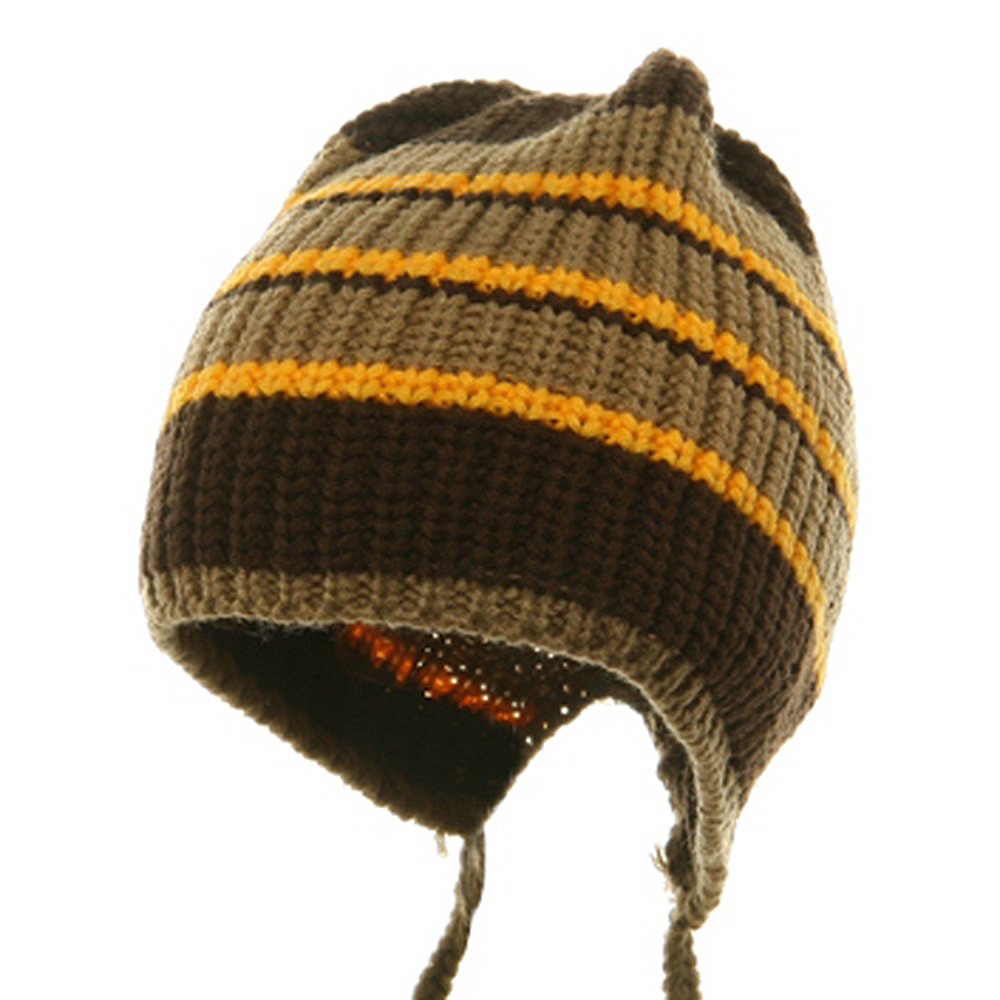 Knit Stripe Tail Hat- Brown Yellow Khaki - Hats and Caps Online Shop - Hip Head Gear