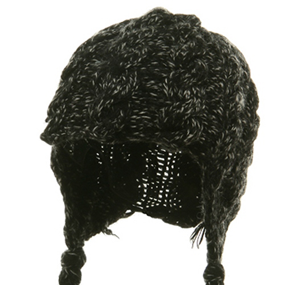 Wool Blend Youth Cable Helmet Hat - Black - Hats and Caps Online Shop - Hip Head Gear