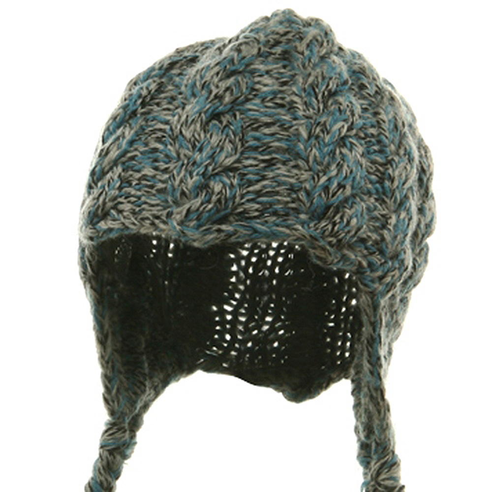 Wool Blend Youth Cable Helmet Hat - Blue - Hats and Caps Online Shop - Hip Head Gear