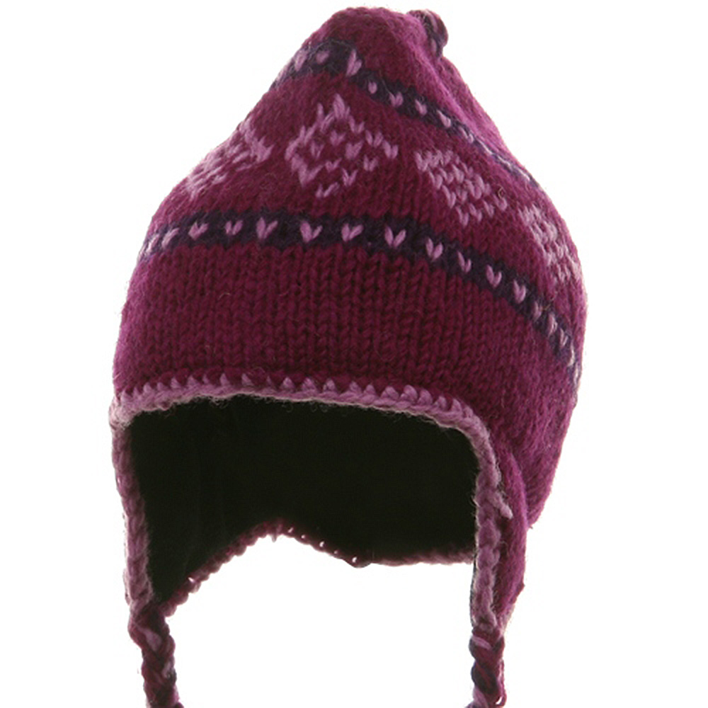 Jacquard Knitting Beanie(02) - Purple Lavender - Hats and Caps Online Shop - Hip Head Gear