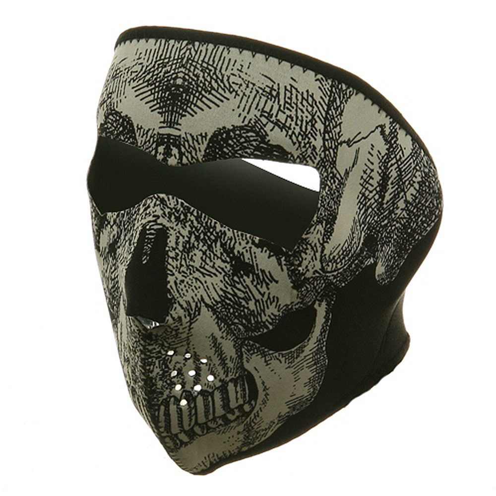 Neoprene Full Face Glow Mask - Glow Skull - Hats and Caps Online Shop - Hip Head Gear
