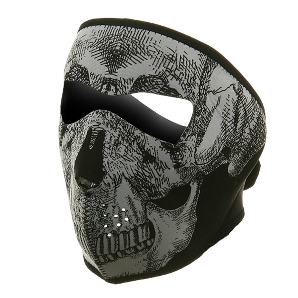 Neoprene Full Face Mask - Black White Skull - Hats and Caps Online Shop - Hip Head Gear