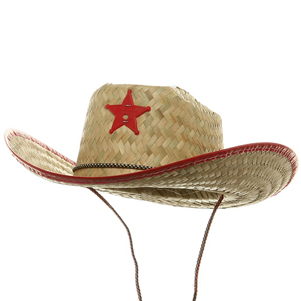 Natural Straw Sheriff Hat-Red - Hats and Caps Online Shop - Hip Head Gear