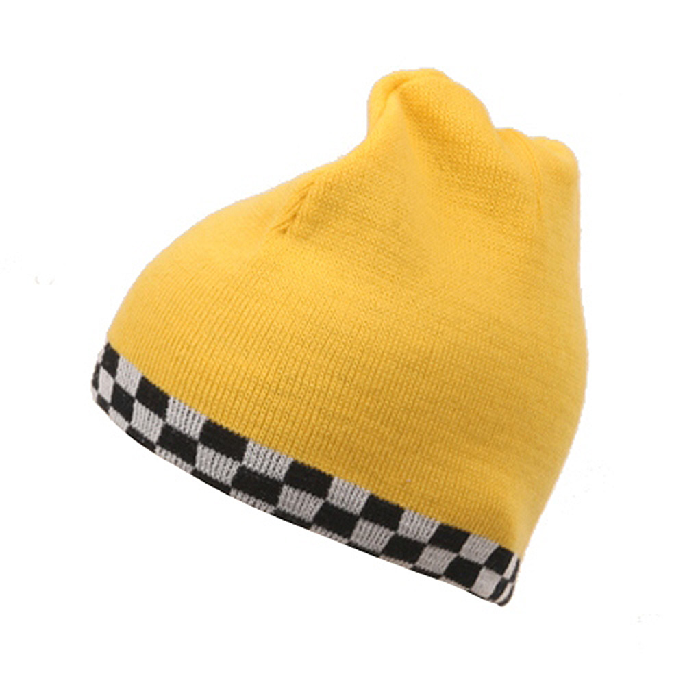 Checkered Reverse Beanie-Yellow - Hats and Caps Online Shop - Hip Head Gear