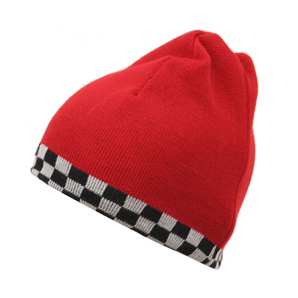 Checkered Reverse Beanie-Red - Hats and Caps Online Shop - Hip Head Gear
