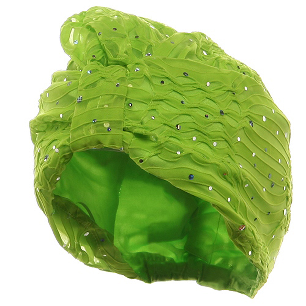 Glitter Turban Hat-Lime - Hats and Caps Online Shop - Hip Head Gear