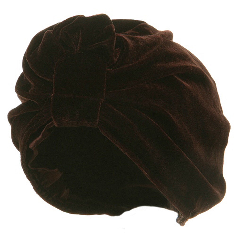 Valvet Turban Hat-Brown - Hats and Caps Online Shop - Hip Head Gear