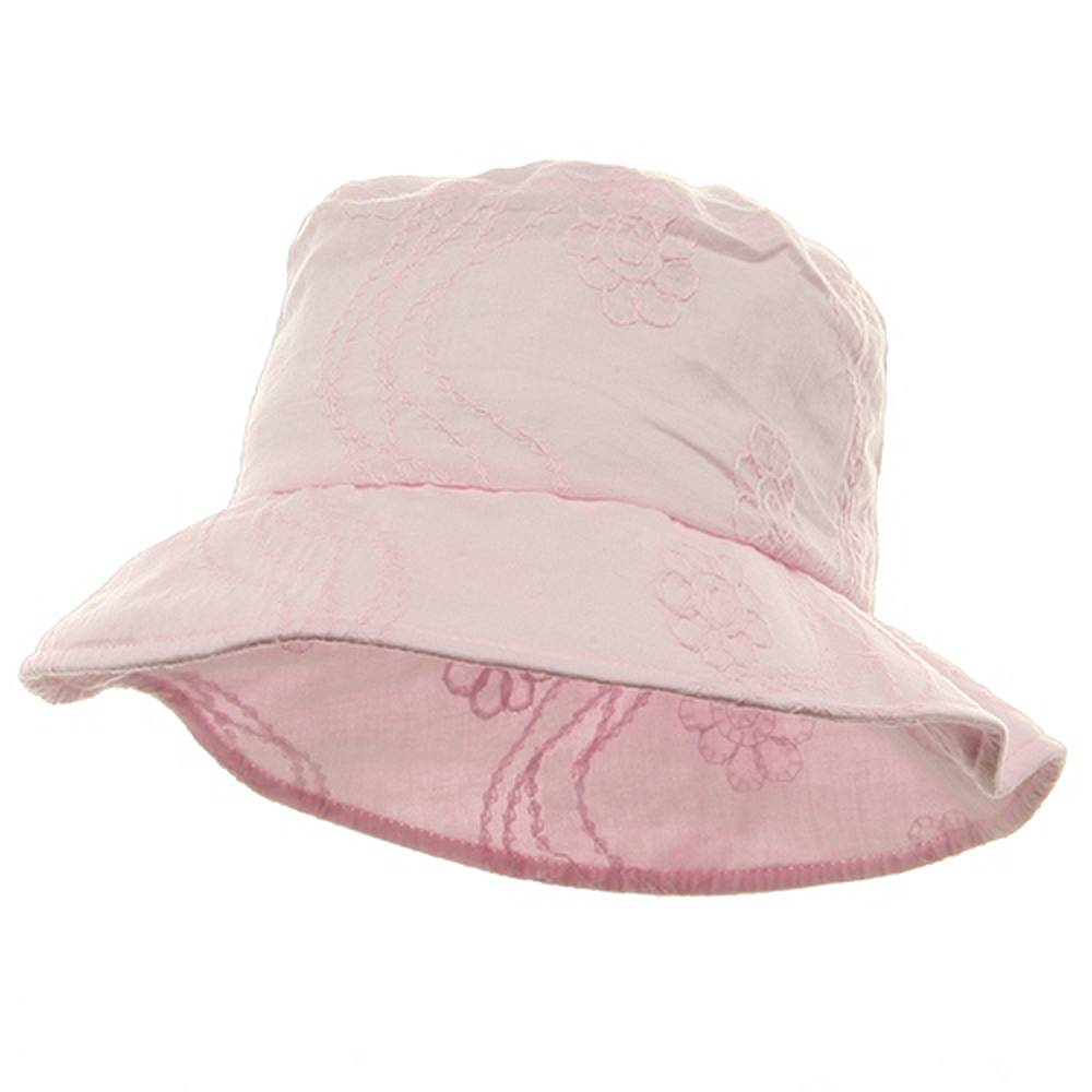 Ladies Embroidered Cotton Fashion Bucket Hat - Light Pink - Hats and Caps Online Shop - Hip Head Gear