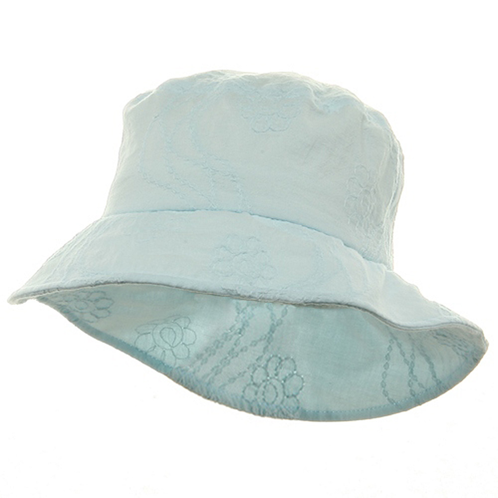 Ladies Embroidered Cotton Fashion Bucket Hat - Turquoise - Hats and Caps Online Shop - Hip Head Gear