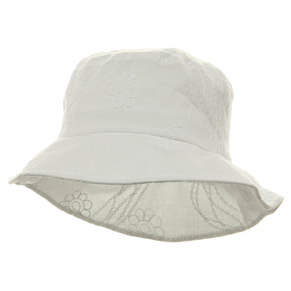 Ladies Embroidered Cotton Fashion Bucket Hat - White - Hats and Caps Online Shop - Hip Head Gear