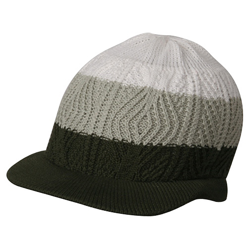 Rasta Beanies Visors (04)-White Olive Green - Hats and Caps Online Shop - Hip Head Gear