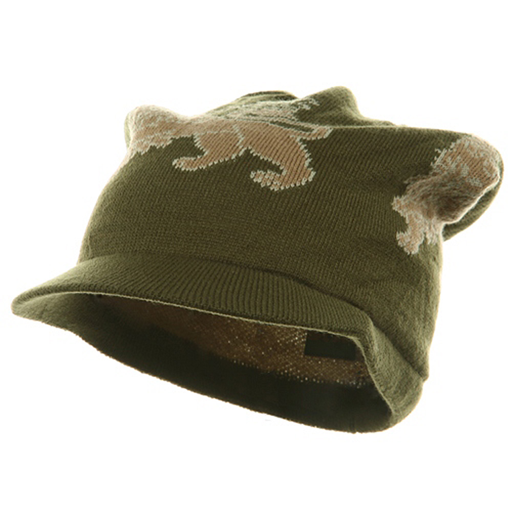 Regular Lion Rasta Beanie Visor Hat-Olive - Hats and Caps Online Shop - Hip Head Gear