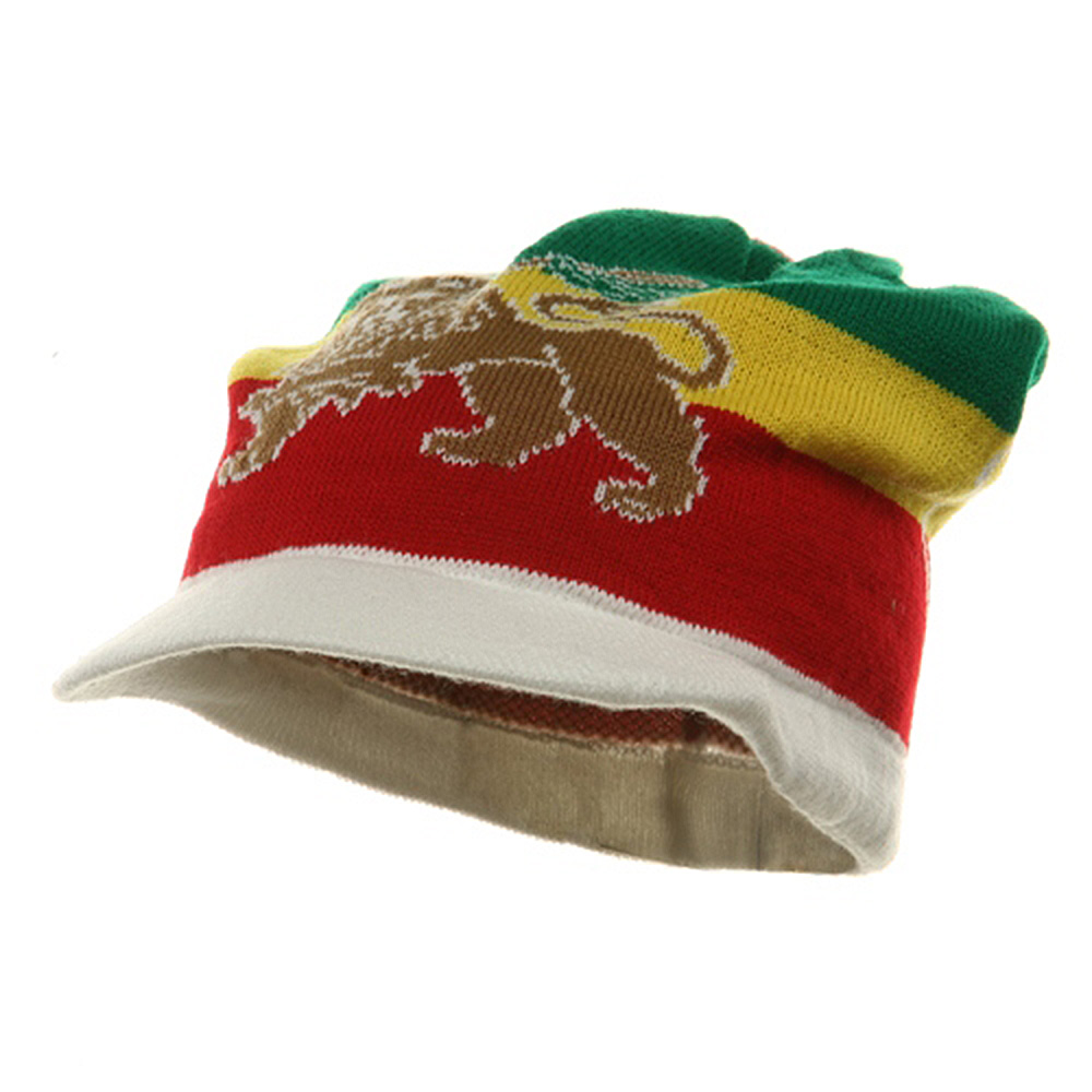 Regular Lion Rasta Beanie Visor Hat-White - Hats and Caps Online Shop - Hip Head Gear