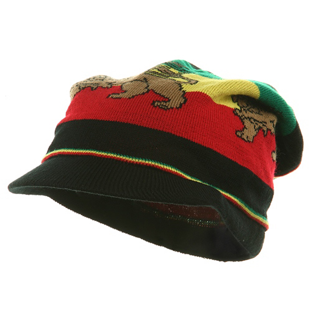 Regular Lion Rasta Beanie Visor Hat-Black RGY - Hats and Caps Online Shop - Hip Head Gear