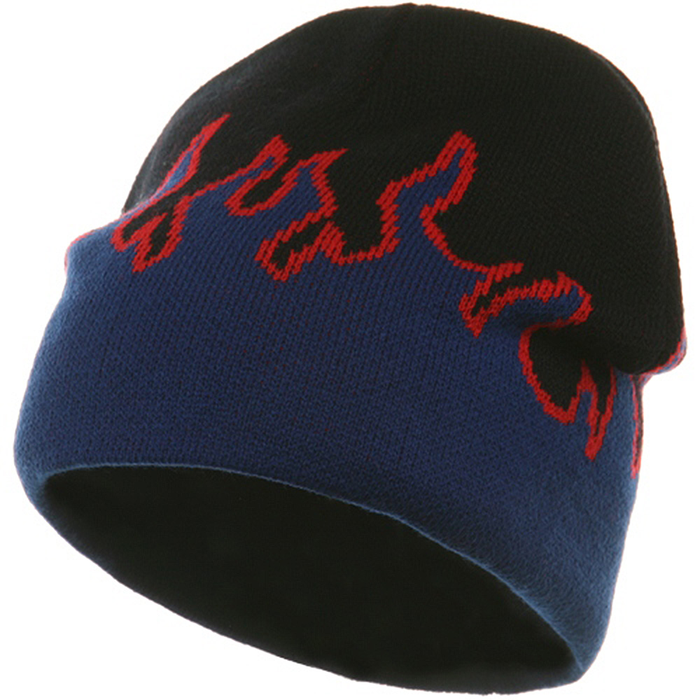 Flame Beanie-Royal Red Black - Hats and Caps Online Shop - Hip Head Gear