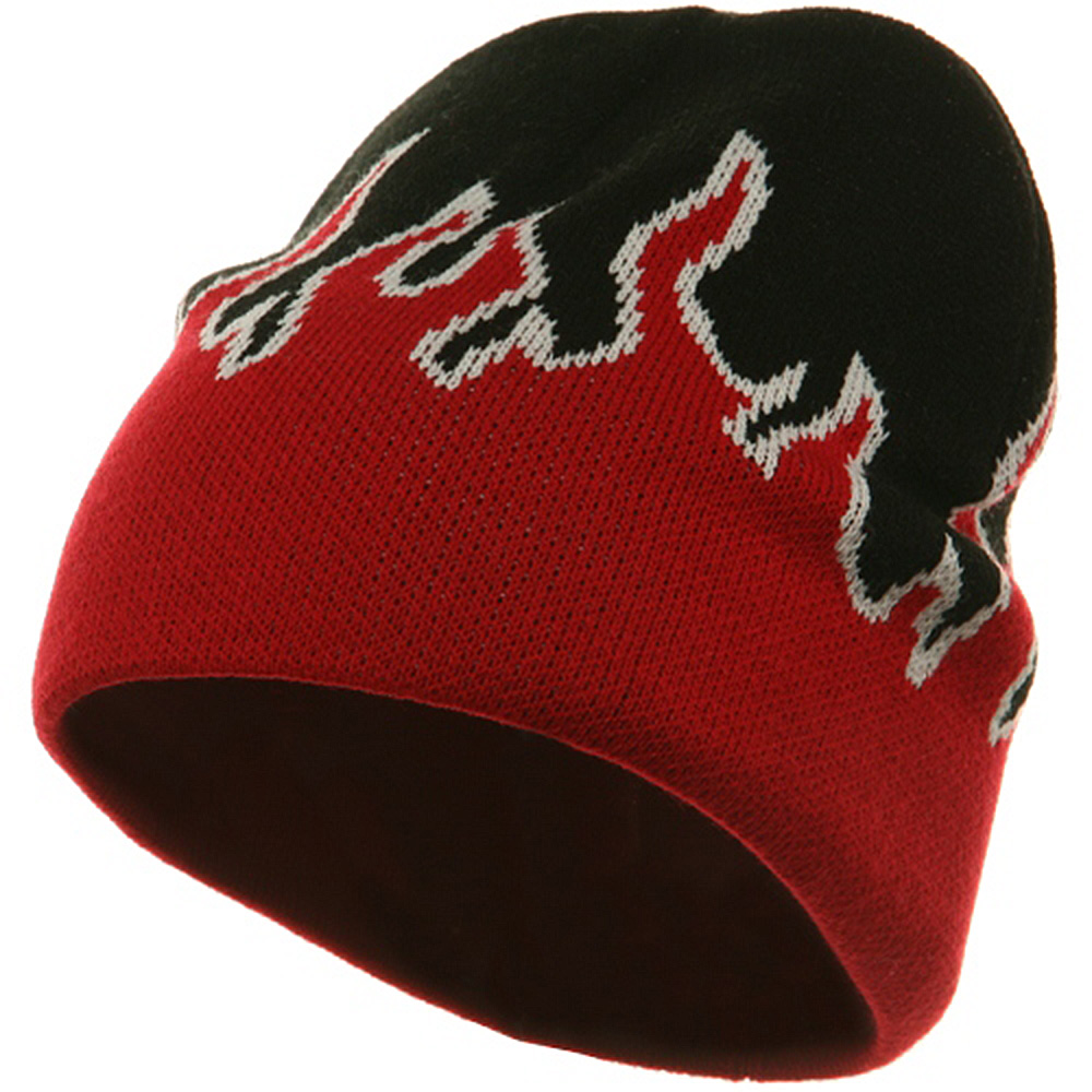 Flame Beanie-Red White Black - Hats and Caps Online Shop - Hip Head Gear