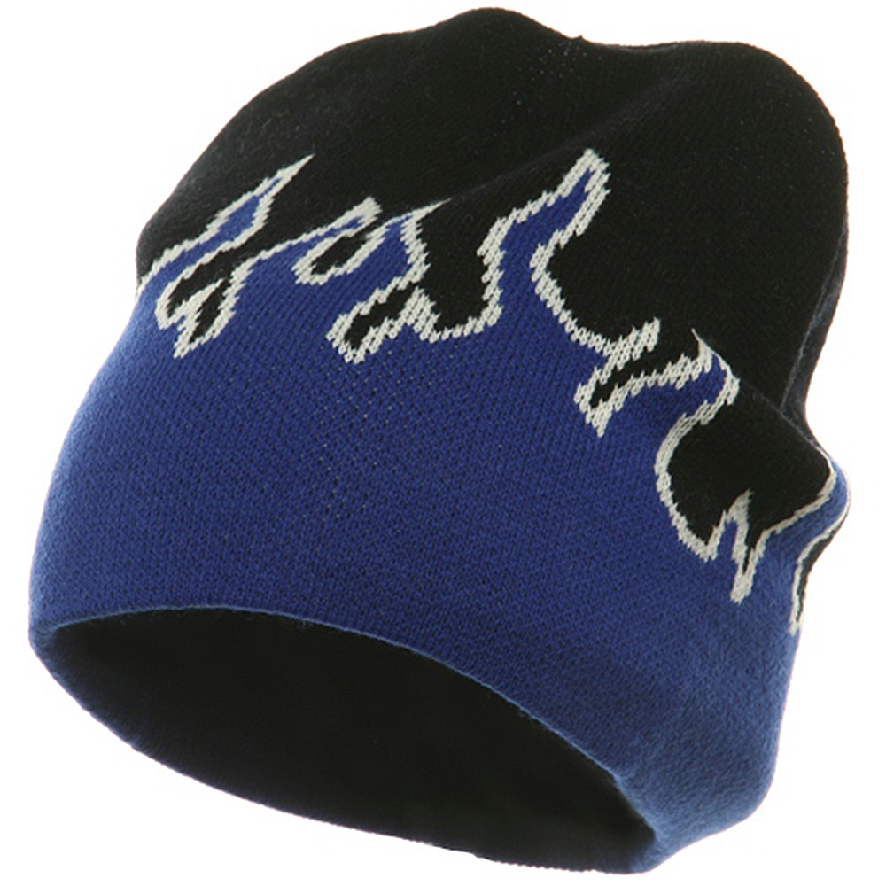 Flame Beanies-Royal White Black - Hats and Caps Online Shop - Hip Head Gear