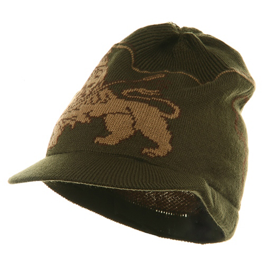 Small Lion Rasta Beanie Visor Hat-Olive - Hats and Caps Online Shop - Hip Head Gear