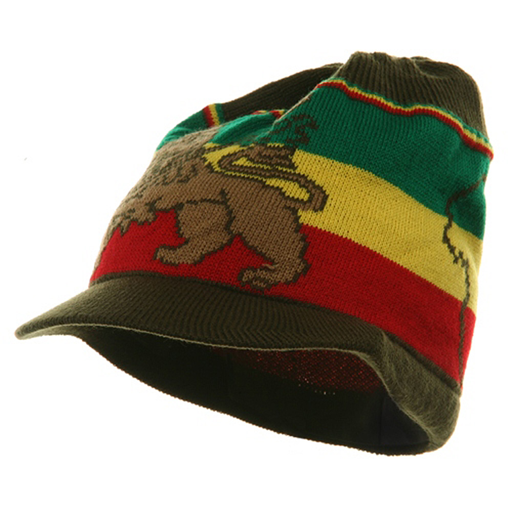 Small Lion Rasta Beanie Visor Hat-Olive RGY - Hats and Caps Online Shop - Hip Head Gear