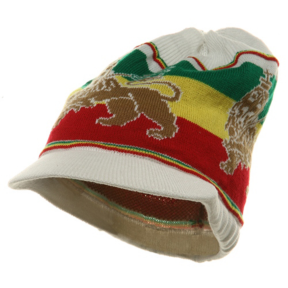 Small Lion Rasta Beanie Visor Hat-White RGY - Hats and Caps Online Shop - Hip Head Gear