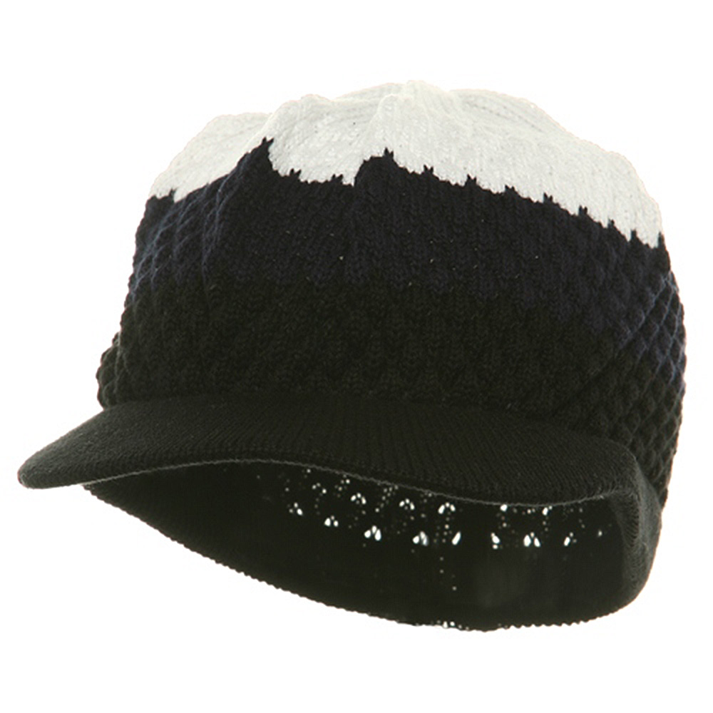 Rasta Beanies Visor (05)-Black Navy White - Hats and Caps Online Shop - Hip Head Gear