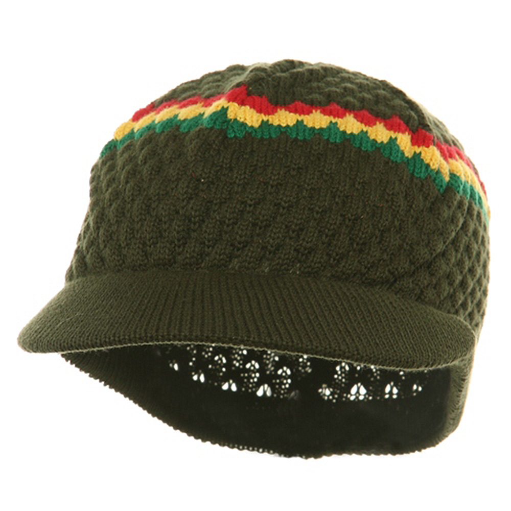 Rasta Beanies Visor (05)-Olive RGY - Hats and Caps Online Shop - Hip Head Gear