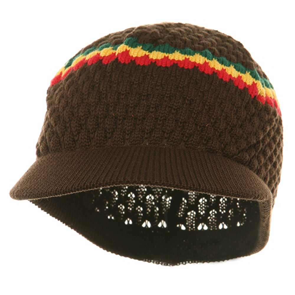 Rasta Beanies Visors (05)-Brown RGY - Hats and Caps Online Shop - Hip Head Gear