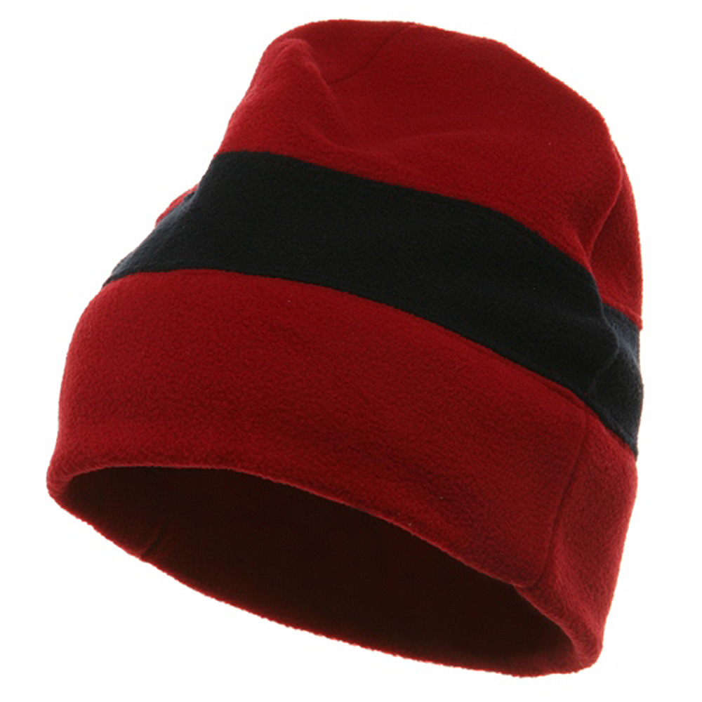 Two Tone Fleece Winter Beanie - Red Navy - Hats and Caps Online Shop - Hip Head Gear