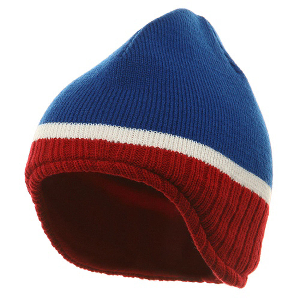Three Tone Ear Flap Beanie-Royal Red White - Hats and Caps Online Shop - Hip Head Gear