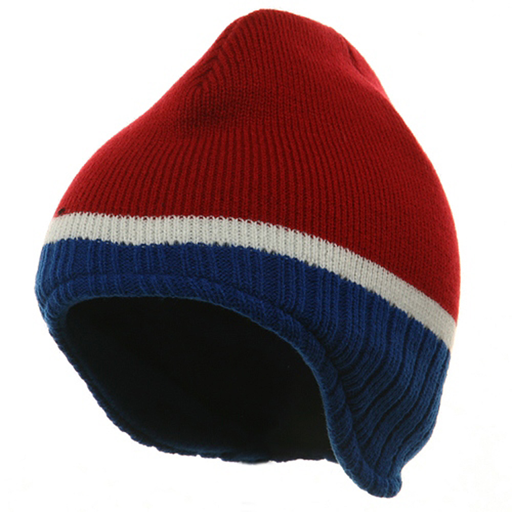 Three Tone Ear Flap Beanie-Red Royal White