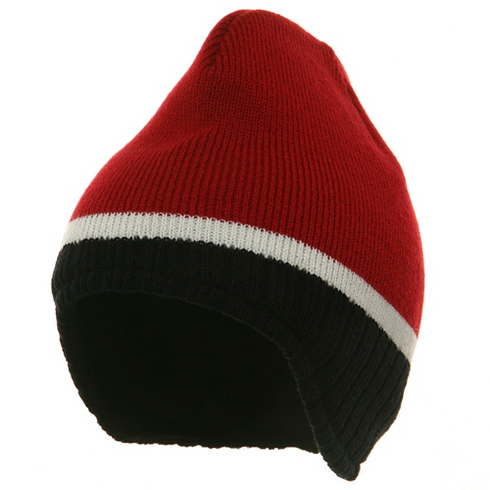 Three Tone Ear Flap Beanie-Red Black White - Hats and Caps Online Shop - Hip Head Gear