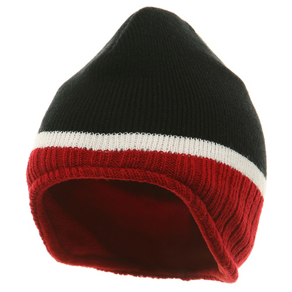 Three Tone Ear Flap Beanie-Black Red White - Hats and Caps Online Shop - Hip Head Gear