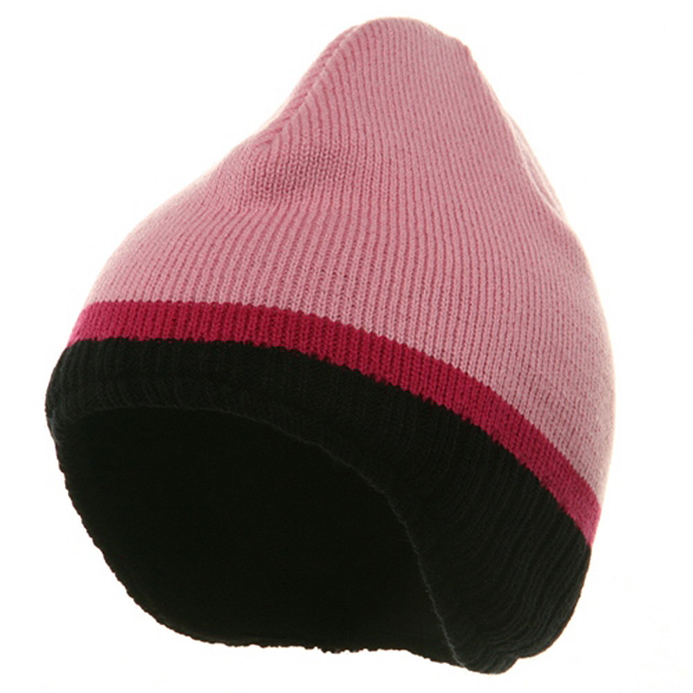 Three Tone Ear Flap Beanie-Pink Black Hot Pink - Hats and Caps Online Shop - Hip Head Gear