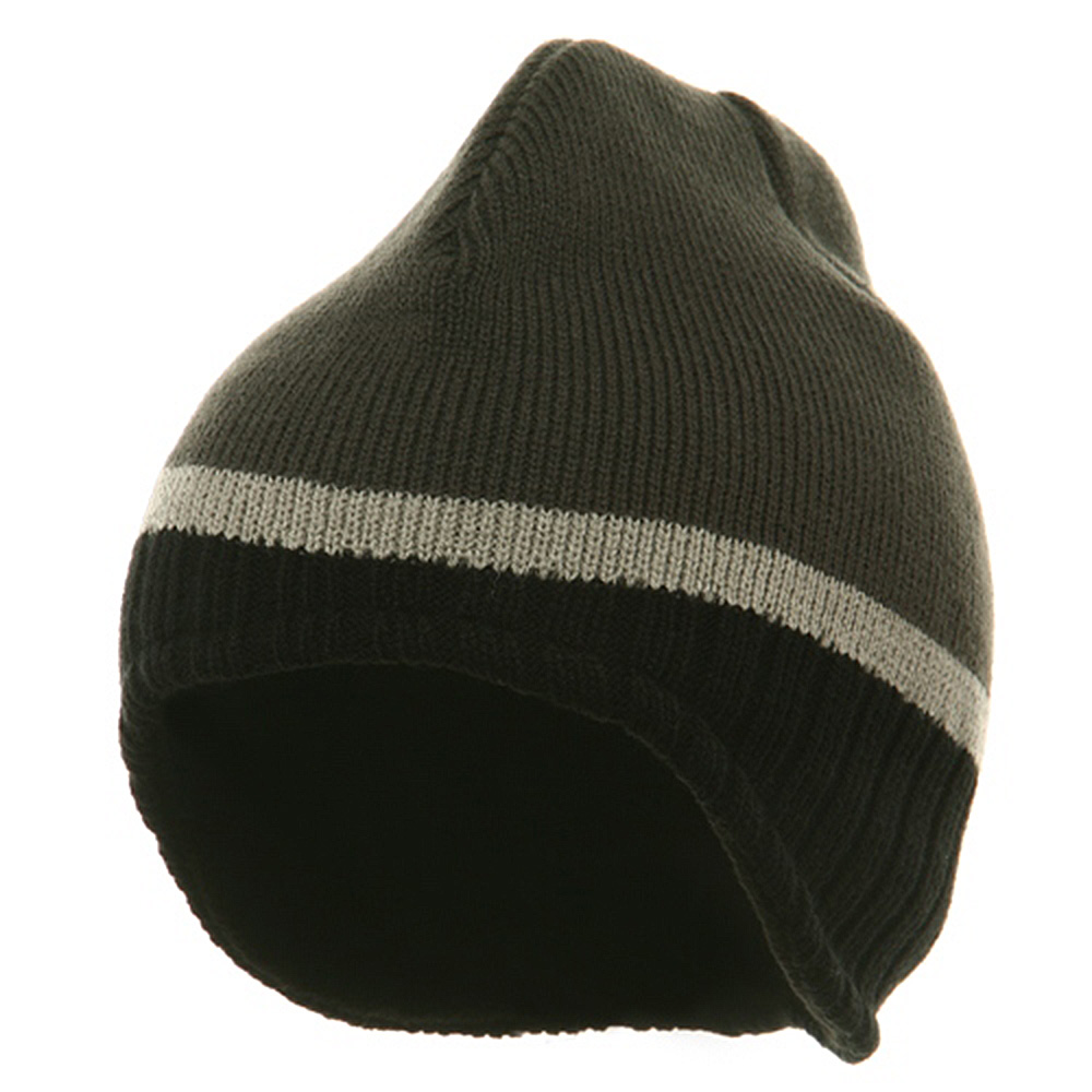 Three Tone Ear Flap Beanie-Charcoal Black Grey - Hats and Caps Online Shop - Hip Head Gear