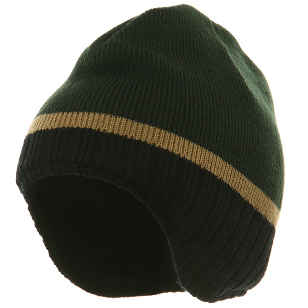 Three Tone Ear Flap Beanie-Forest Black Khaki - Hats and Caps Online Shop - Hip Head Gear