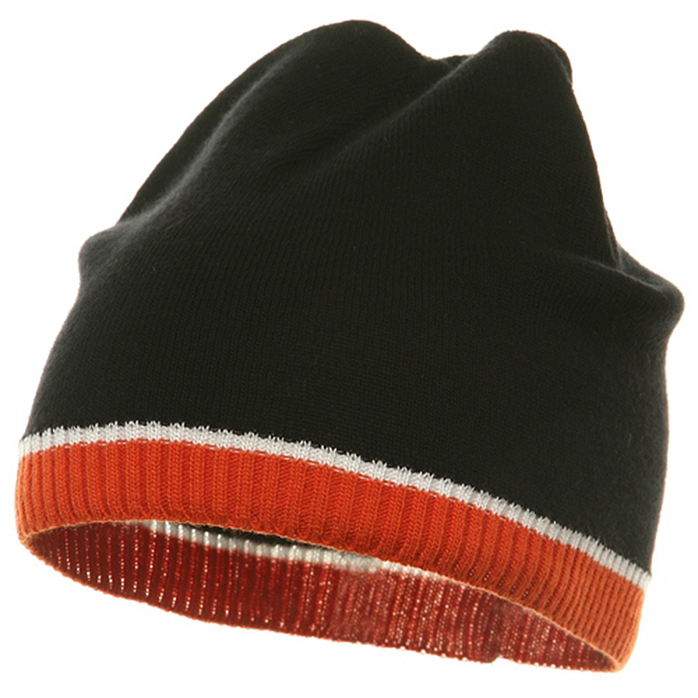 Tri Color Short Beanie-Black Orange - Hats and Caps Online Shop - Hip Head Gear