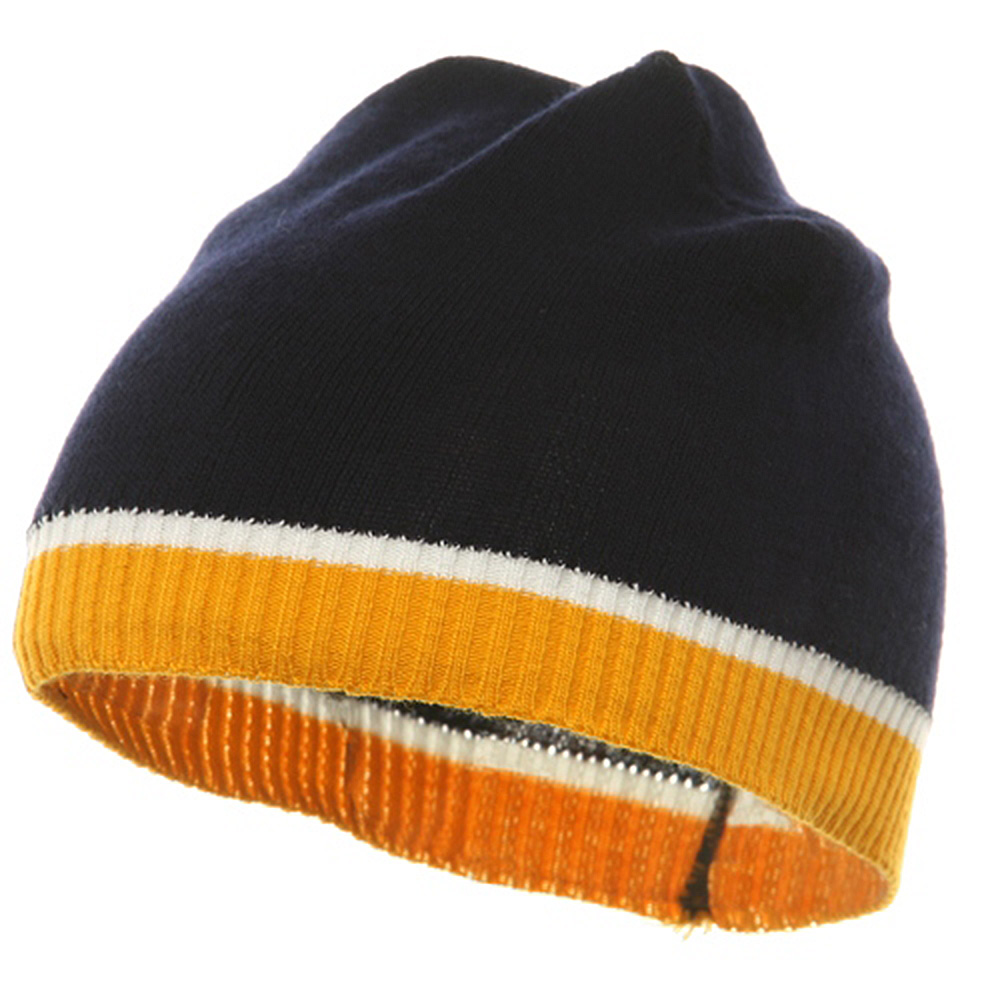 Tri Color Short Beanie-Navy Gold - Hats and Caps Online Shop - Hip Head Gear