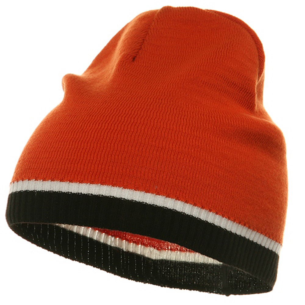 Tri Color Short Beanie-Orange Black - Hats and Caps Online Shop - Hip Head Gear