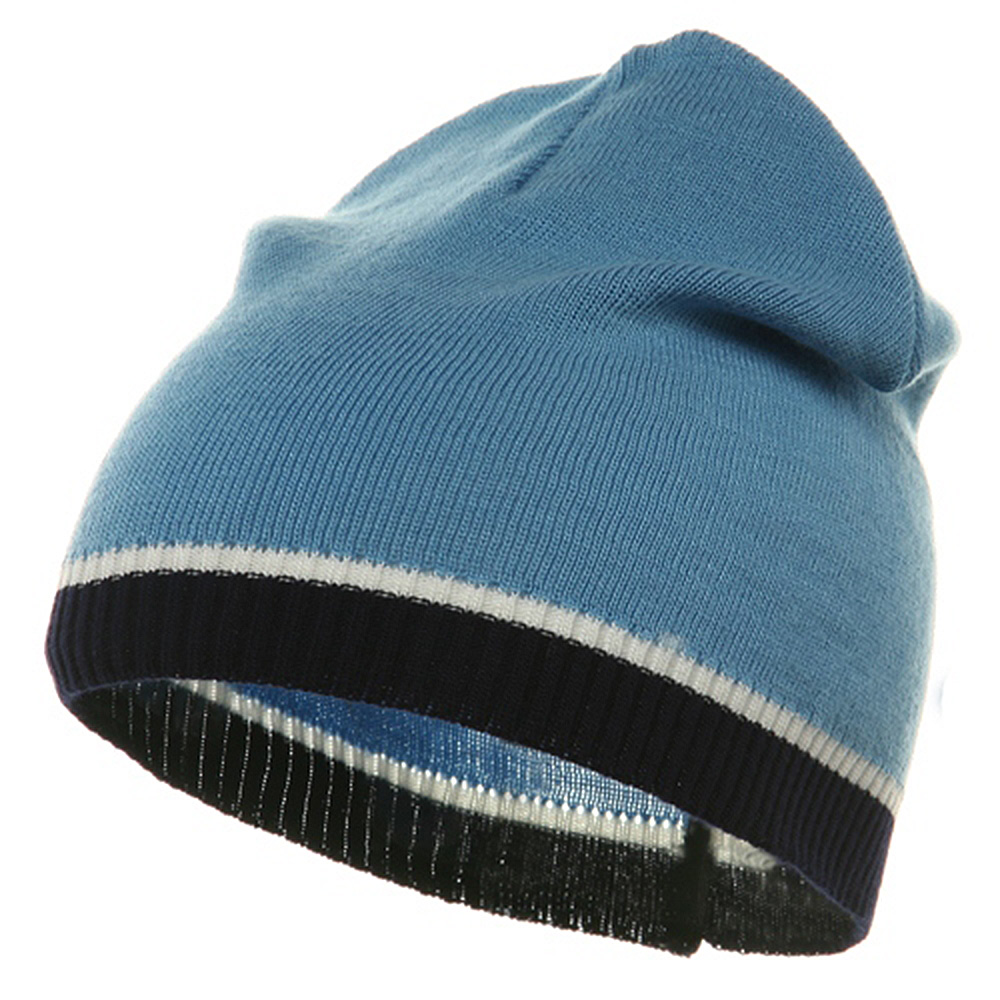 Tri Color Short Beanie-Blue Navy - Hats and Caps Online Shop - Hip Head Gear